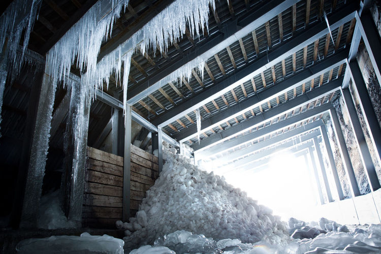 Architecture Indoors  No People Built Structure Day Building Low Angle View Motion Wall - Building Feature Large Group Of Objects Ceiling Steps And Staircases Metal Cold Temperature Snow Absence Avalanche  Icicles Shelter Ice Winter