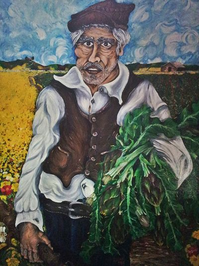 My work.oil painting, farmer with artichokes, 50x70 cm. Oil Painting Painting Artichokes My Painting