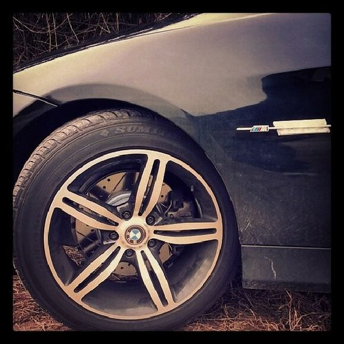 Drilled and slotted rotors lookin good on em Spoiledcar Bmw Canttouchit Rimslikeoooh