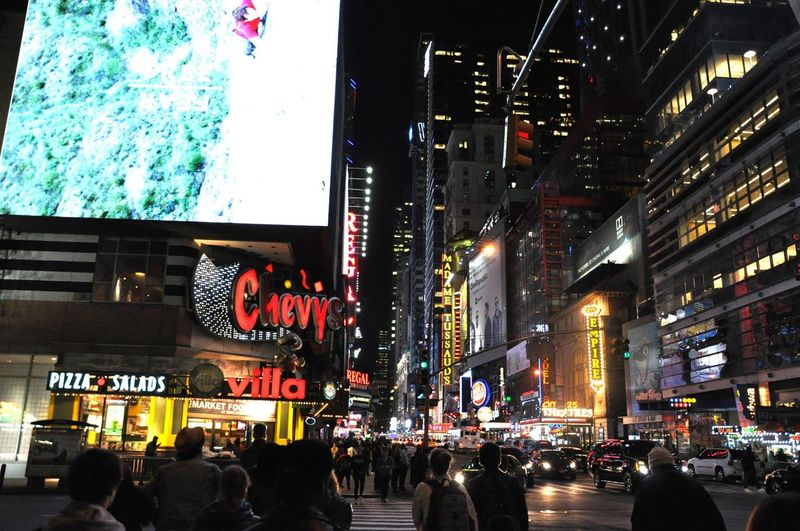 City Night Lights Crowd Dark Street New York City New York City By Night Night Views People