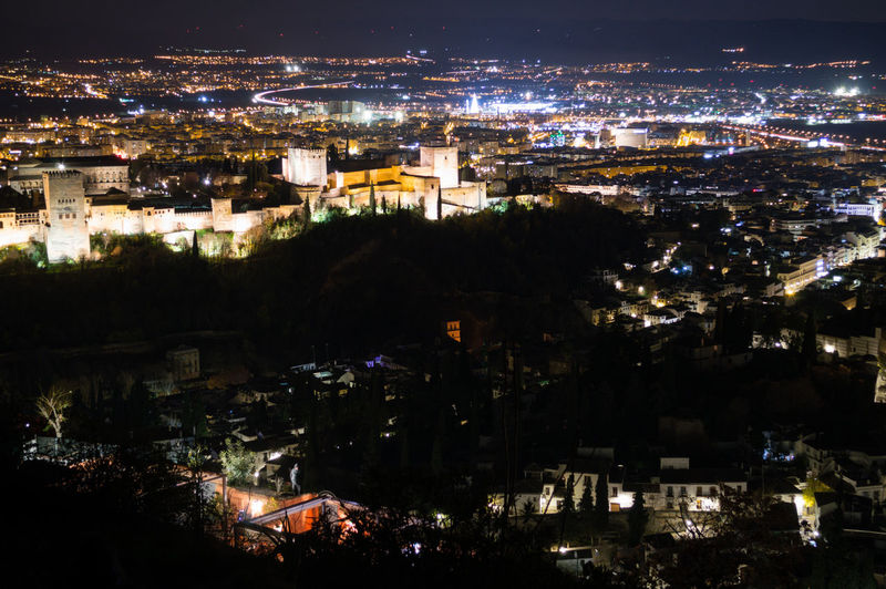 Granada, Spain SPAIN Andalusia Sacromonte Alhambra Albaycin Albaicin Building Exterior Architecture City Night Cityscape Illuminated Built Structure Crowd High Angle View Crowded Building Residential District City Life Nature Outdoors Community Glowing Aerial View Town TOWNSCAPE Settlement Apartment Nightlife