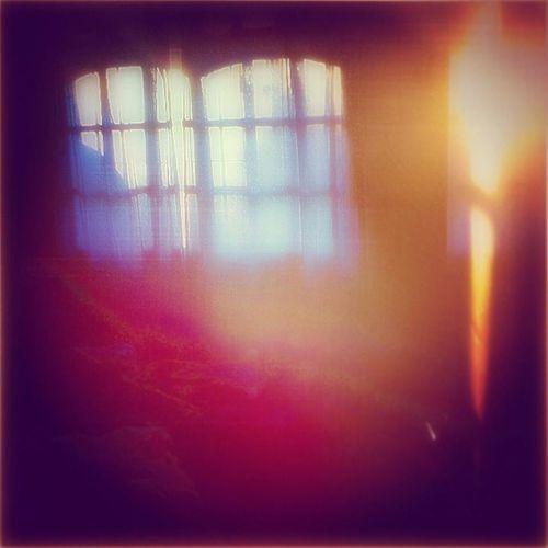 Glass window against bright light