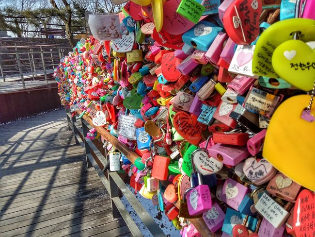 Lockup all your love and go and throw away the key Namsan Tower  남산타워 Love Locks Of Love Tied Together Multi Colored Outdoors Variation Love Yourself