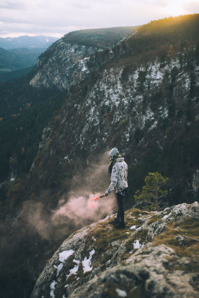 Adventure Backpack Beauty In Nature Day Exploration Full Length Hiker Hiking Landscape Leisure Activity Lifestyles Men Mountain Mountain Range Nature One Person Outdoors Real People Rear View Rock - Object Scenics Sky Standing Tranquil Scene Tranquility