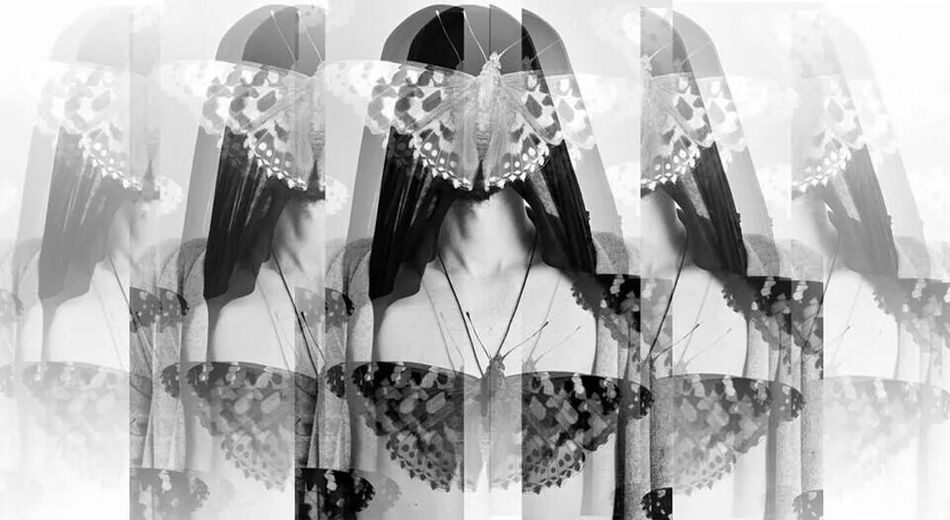 Blackandwhite Psichedelic Butterfly Portrait Multiply