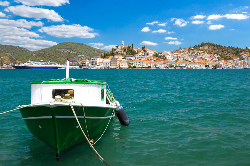 Poros is a small Greek island in the Saronic Gulf Greek Greek Islands Griechenland Hellas Holiday Insel Mediterranean  Old Town Panorama Poros Poros Island Postcard Saronic Gulf Travel Betterlandscapes Boat Coast Europe Greece Landscape Saronic Islands Seascape Sky Summer Tourism