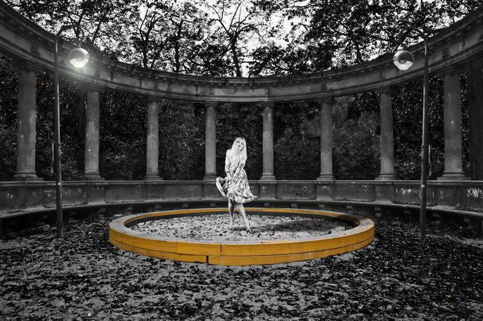Art Art Photograpy Black And White Columns Dancing Design Sandpit Single Person Street Lights Surreal Viktoria-luise-platz Women