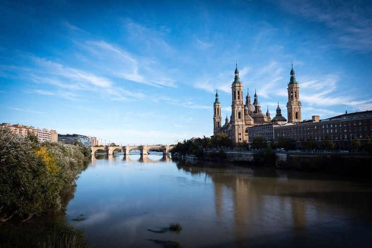 Zaragoza Church El Pilar De Zaragoza España SPAIN Architecture Building Exterior Built Structure Sky Water Nature Cloud - Sky Religion Travel Destinations Outdoors
