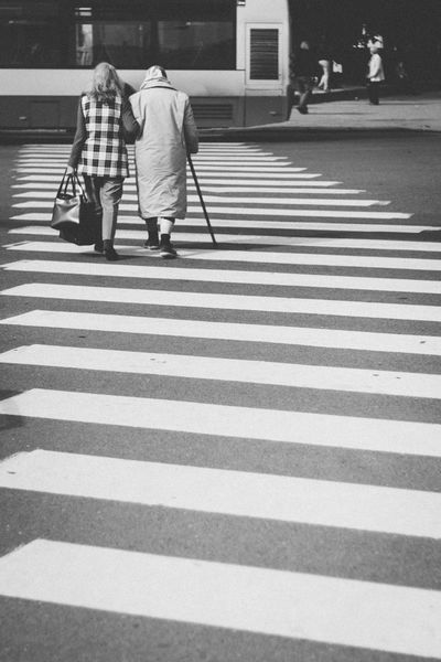 Adult Architecture City City Life Couple - Relationship Crossing Crosswalk Marking Men People Real People Rear View Road Road Marking Sign Street Transportation Two People Walking Walking Cane Women Zebra Crossing
