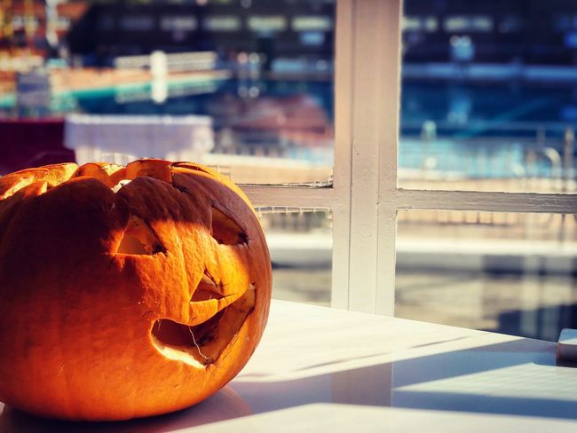 🎃🎃🎃 Focus On Foreground Close-up No People Pumpkin Sunlight Food And Drink Nature Orange Color Face Anthropomorphic Face Anthropomorphic Outdoors Day Shadow Jack O' Lantern Table Food Art And Craft