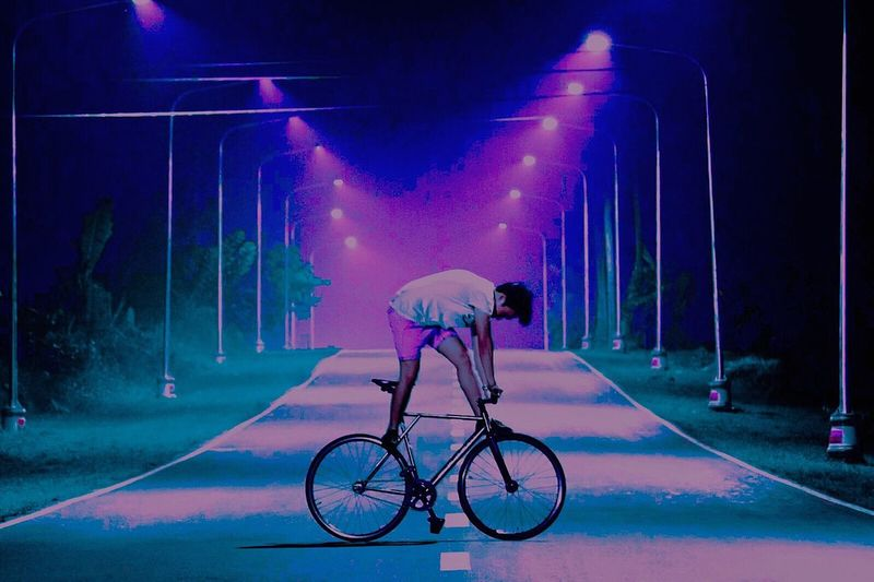 FXD Bicycle Transportation Night Mode Of Transport Illuminated Land Vehicle Cycling Real People Outdoors Built Structure One Person Architecture Full Length Men Road City One Man Only Sky Only Men People Be. Ready.