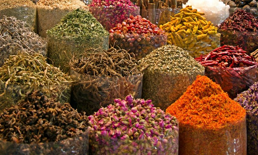 Spices For Sale At Market Stall