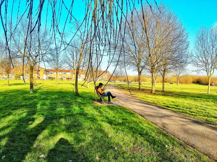 There I can see him waiting.... For his someone special...😃 Enjoying The View Londonthroughmycam Hubby ♥ Feeling Mischevious Nature By My Side Taking A Walk EyeEm Nature Lover Lovehim Love Is In The Air At The Park
