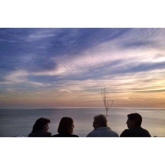 A conversation at Sunset . Colors Landscape Sea People Sky Clouds And Sky Odetomycity Mobilephotography Myalbania