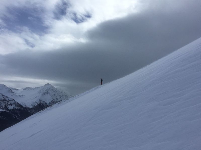 Snow One Person Mountain Snowboarding Snow Sports Scenery Winter Steep White Color Outdoors Off The Road Backcountry Adventure Powder Cold Temperature Tranquility Leisure Activity Cloud - Sky Real People Free Freeride