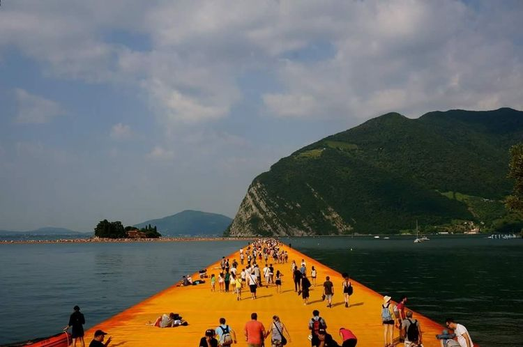 The Floating Piers The Floating Piers By Christo Christo And The Floating Piers Iseo Lake Iseolake Italy Art And Nature Iseo 43 Golden Moments People And Places TakeoverContrast Paint The Town Yellow