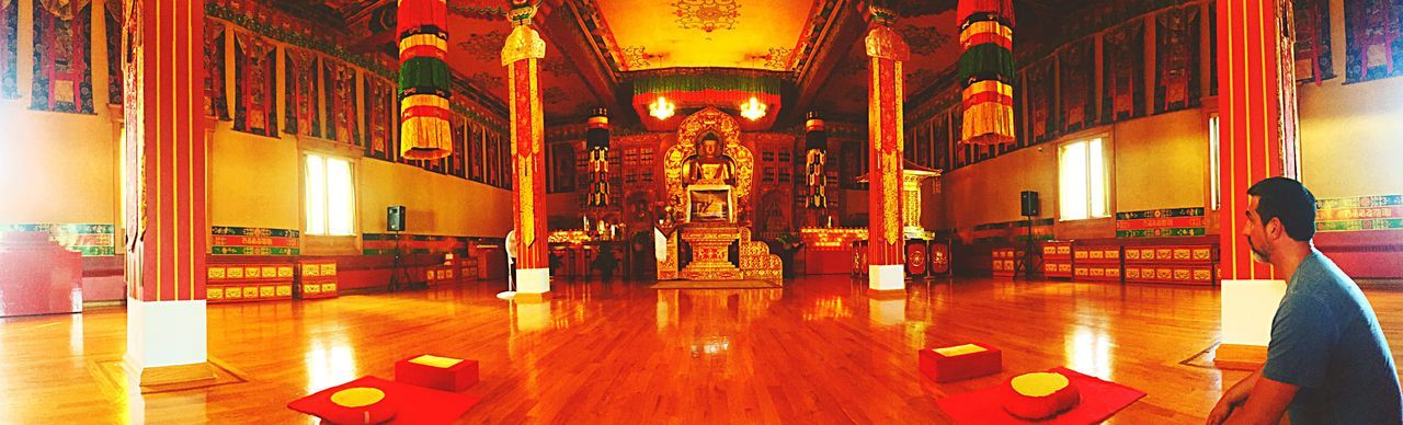 Indoors  Illuminated Lighting Equipment Religion Spirituality Art Statue Art And Craft Place Of Worship Creativity Culture Buddhist Temple Buddhism Dharmachakra Meditation Sanctuary  Temple - Building Myfavoriteplace My Favorite Place People And Places