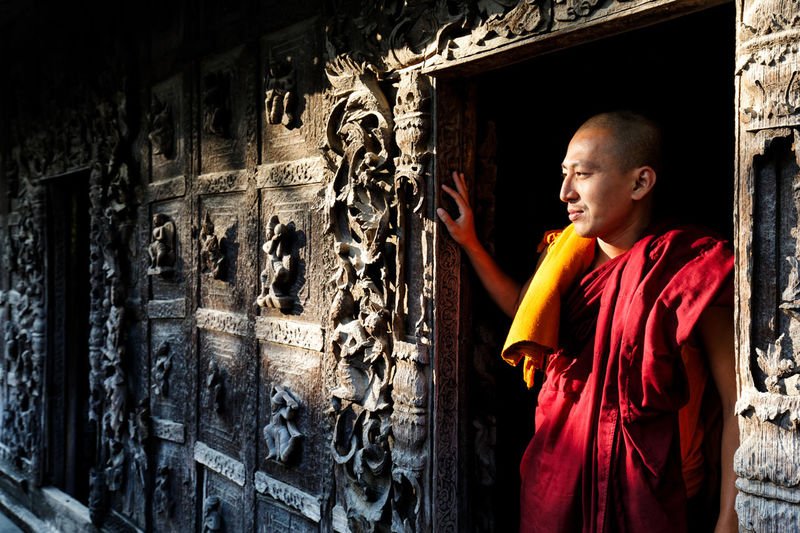 Ancient Buddhism Buddhist Mandalay Monk  Myanmar Person Portrait Portrait Photography Standing Temple The Portraitist - 2016 EyeEm Awards The Street Photographer - 2016 EyeEm Awards Travel Travel Photography Traveling