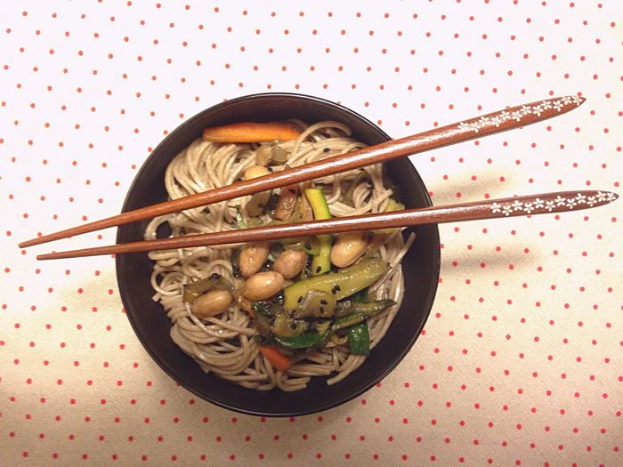 Japanese Food Soba Veggies Food Foodporn Foodphotography From Where I Stand Polkadots Pattern Red Chopsticks Wood Japanese Culture Love Dinner Time Ultimate Japan