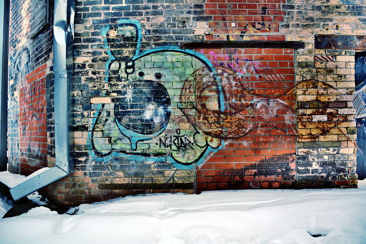 Brick Wall Wall Architecture Brick Building Exterior Built Structure Graffiti Art And Craft Wall - Building Feature Creativity No People Snow Winter Day Window Cold Temperature Building Outdoors Paint Mural Don Valley Brick Works Park