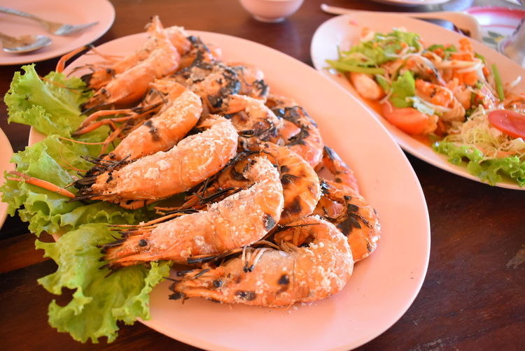 High angle view of seafood in plate
