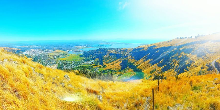 Landscape Beauty In Nature Outdoors No People Christchurch Gondola Blue Sea,blue Sky Blue Skies ⛅ Nature Wondering The World Mountain View Christchurch New Zealand Sunshine Clear Sky Morning View
