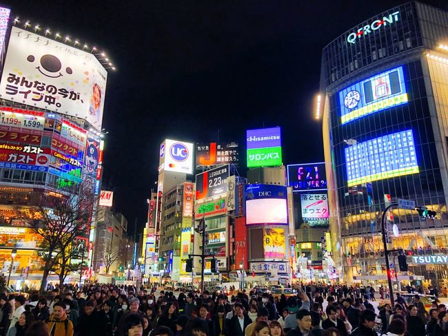 Japan Large Group Of People Crowd Night Illuminated Architecture Communication Real People Outdoors People Neon