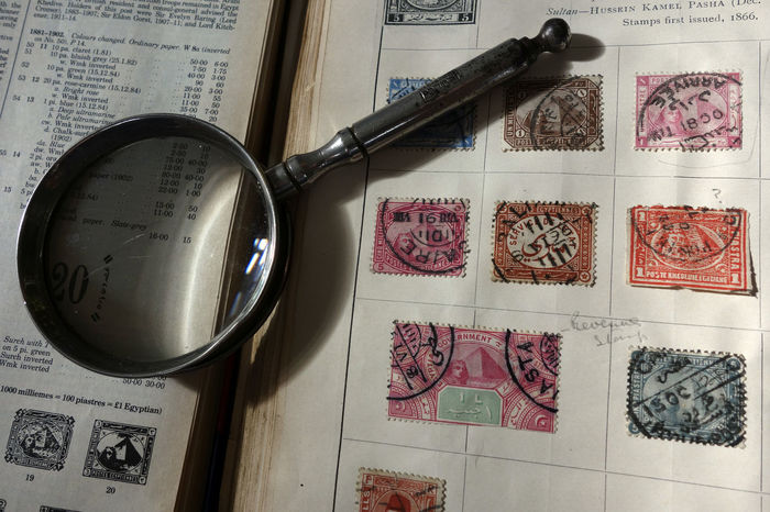Collector Hobby Magnifying Glass Philatelist Postage Stamp Stamp Album Stamp Collection Valuable