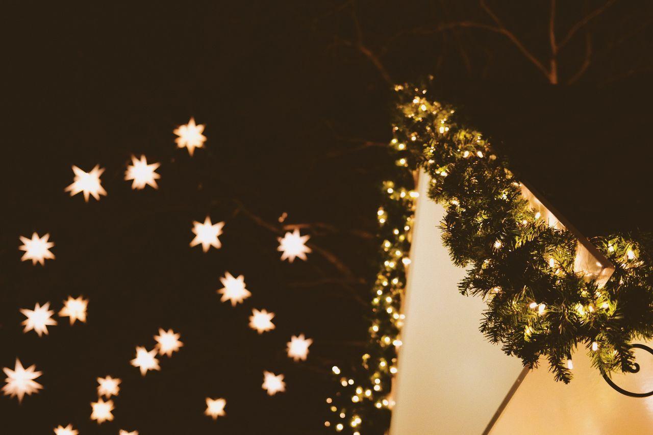 tree, illuminated, night, christmas, celebration, plant, christmas decoration, holiday, christmas lights, decoration, no people, christmas tree, low angle view, glowing, shape, nature, celebration event, sky, star shape, light, outdoors, electricity