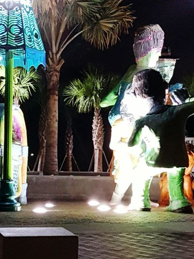 Showing Imperfection Lighting The Drakness Lights From The Ground Lights From Above Oops Wrong Settings Street Photography Beauty In Street Art Outside Art Exhibit Palm Trees And Night Skyline Lighting Effects Stone Art