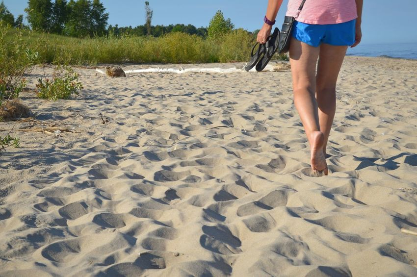 Sand Beach Vacations One Woman Only One Person Walking Adult People Summer Outdoors Day Peaceful Relaxing Rejuvenation Casual Lake Lake Michigan Sunny