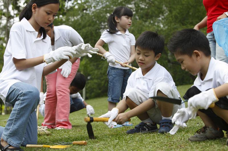 Friends gardening in park