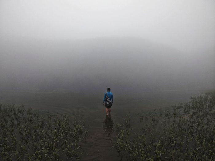 Rear view of man walking in water against foggy landscape