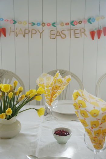 Bowl Close-up Day Easter Flower Food Food And Drink Freshness Happy Easter Indoors  No People Ready-to-eat Sweet Food Table Table Setting Text Yellow Yellow Color