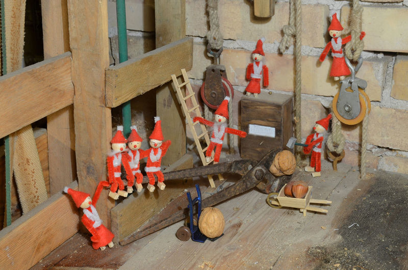 Pixie gang has a hard time cracking a walnut. Christmas Gang Pixie Architecture Building - Activity Building Exterior Built Structure Construction Site Cracking Day Gnoms Industry Machinery No People Outdoors Traffic Cone Trouble Walnut Walnuts Work Tool