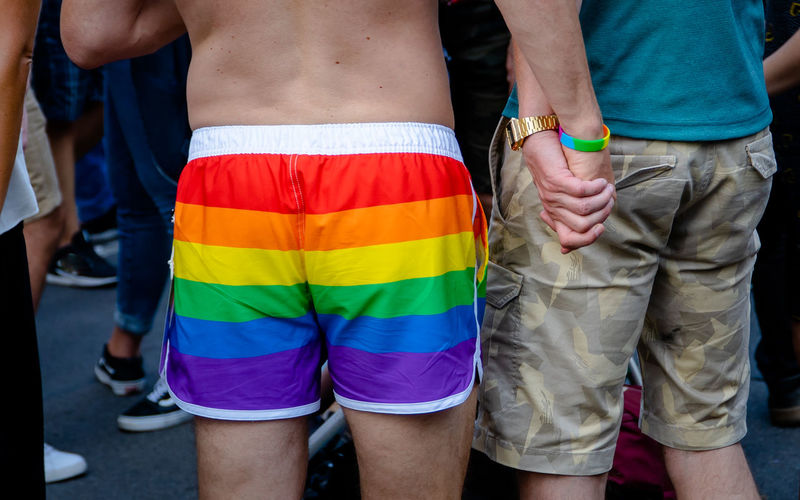 Midsection of gay couple holding hands while standing in parade