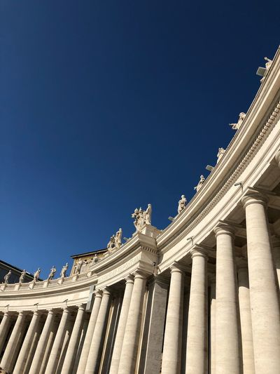 San Pietro Cathedral Vatican Built Structure Architecture Building Exterior Sky Low Angle View Architectural Column Clear Sky Blue History Travel Destinations
