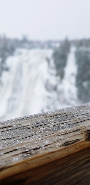 Wood Waterfall Close-up Winter Water Close-up Sky Horizon Over Water