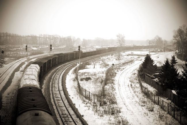Where are you heading. Train Gloam Snow Train Station Inner Mongolia Train Train Tracks Railway Railroad Winter White And Black Forest Fence Transport Carriage Long Way Frozen Temperature