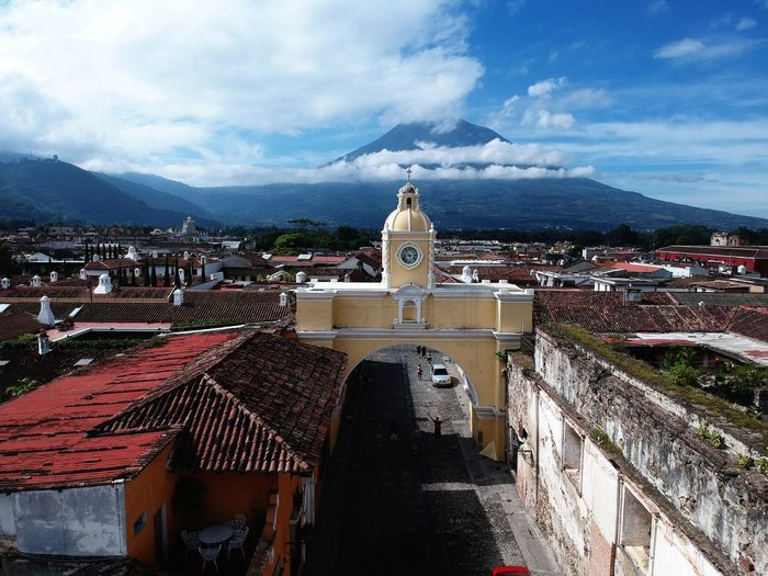 El Arco, Antigua Guatemala Arch Architecture Volcano Arcos Dronephotography Architecture Building Exterior Built Structure Sky Cloud - Sky City Building Nature High Angle View Mountain Outdoors Travel Day