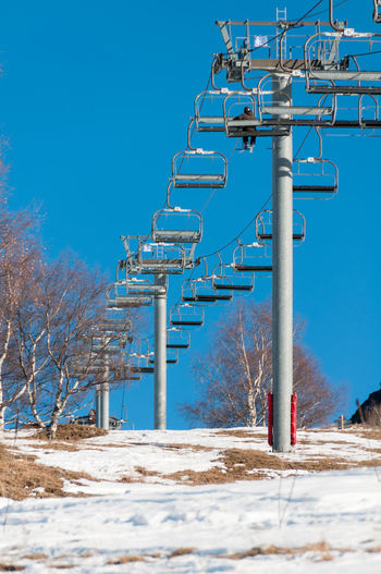 Low Angle View Of Ski Lift Against Clear Sky