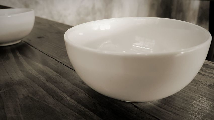 Small bowl on the table. Table Indoors  Bowl Of Soup Sepia