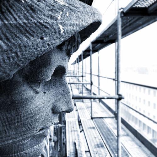 Close-up of statue against railing