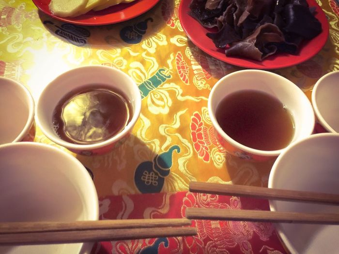 Teatime in Tibet Tea Tea Time Tibet Tibetan House Plates Little Dishes Tableware Tablecloth Culture Traditional Local Chopsticks Food Travel Indoors  Experiment Colour Of Life Two Is Better Than One Eyeemphoto A Bird's Eye View
