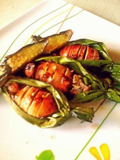 Stuffed squids in banana leaf :) Food Food Photography Foodtrip