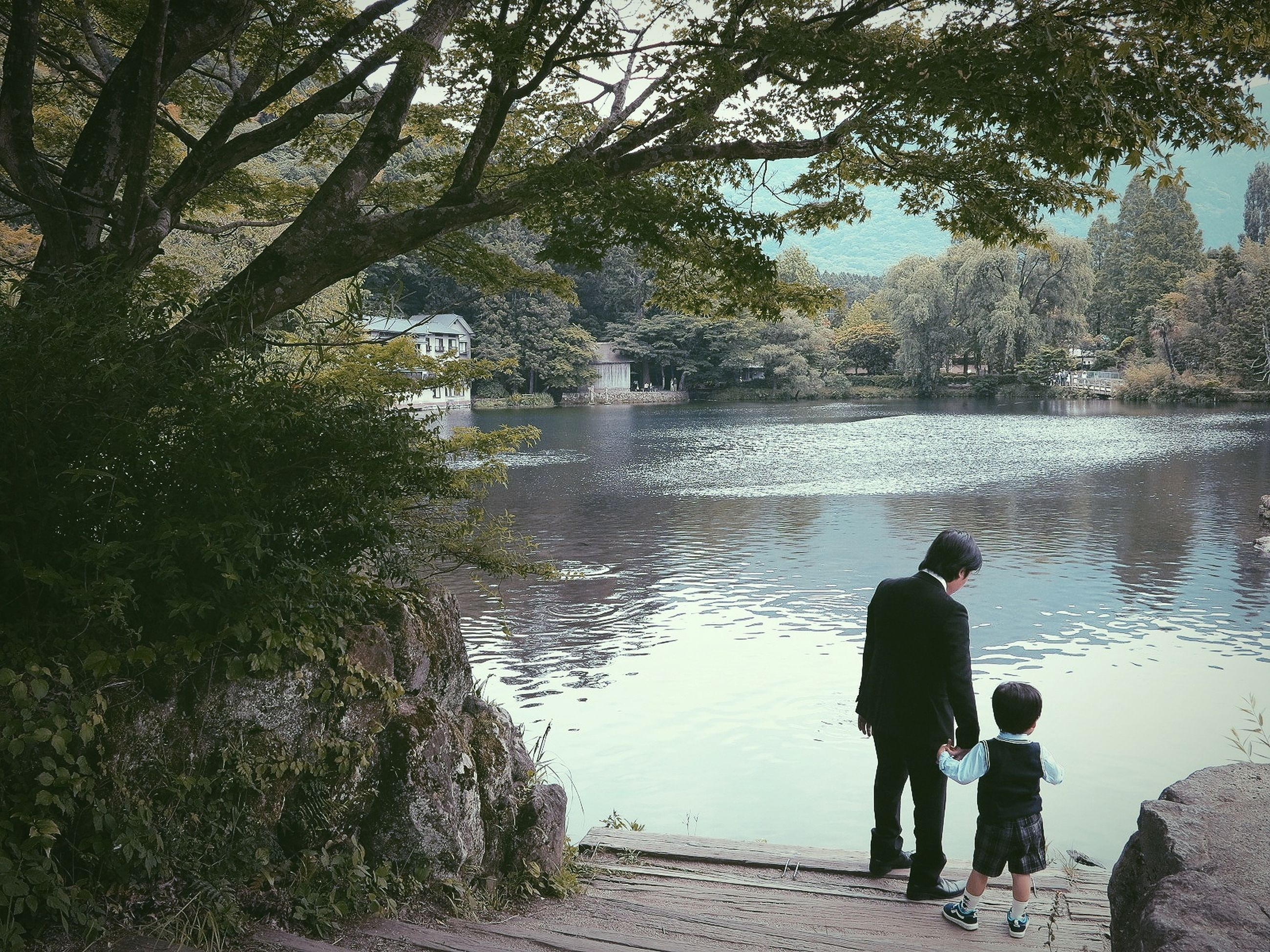 water, tree, plant, real people, two people, togetherness, full length, nature, men, rear view, family, bonding, lifestyles, child, lake, love, women, day, childhood, positive emotion, outdoors, son