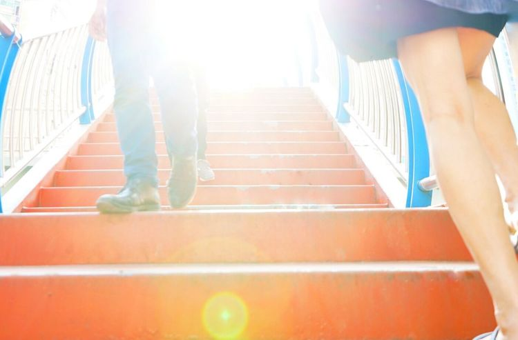 Commute Footsteps Bright Walking Stairs Clibing Legs Perspective From Below Prospettive Bright Future The City Light