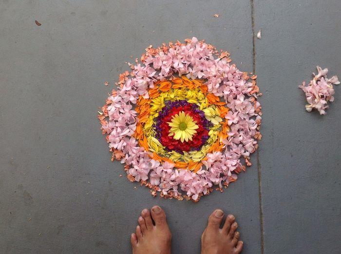 High angle view of flower rangoli and feet