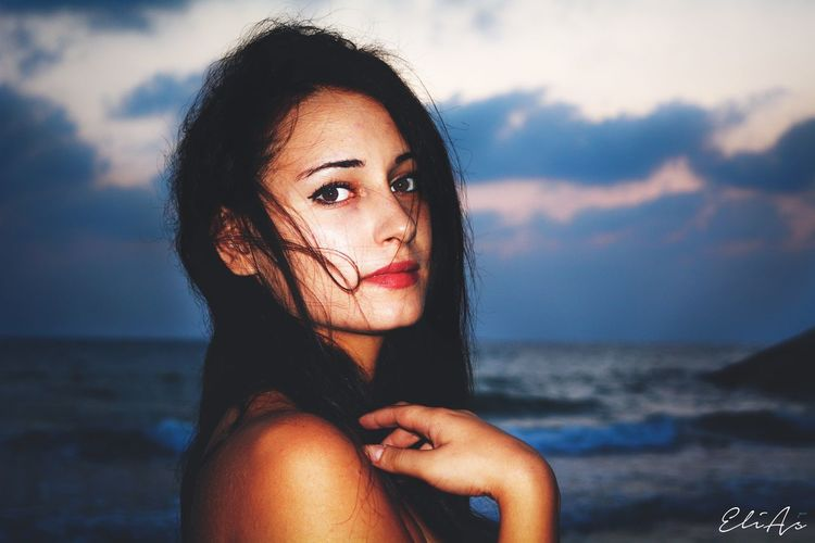 Mimi Love Syria  Nikon Elias_photography Portrait Colorful Orange Color Sky Sunlight Sea One Person Water Sky Real People Portrait Young Adult Beach Hair Hairstyle Beautiful Woman Beauty Long Hair Looking At Camera