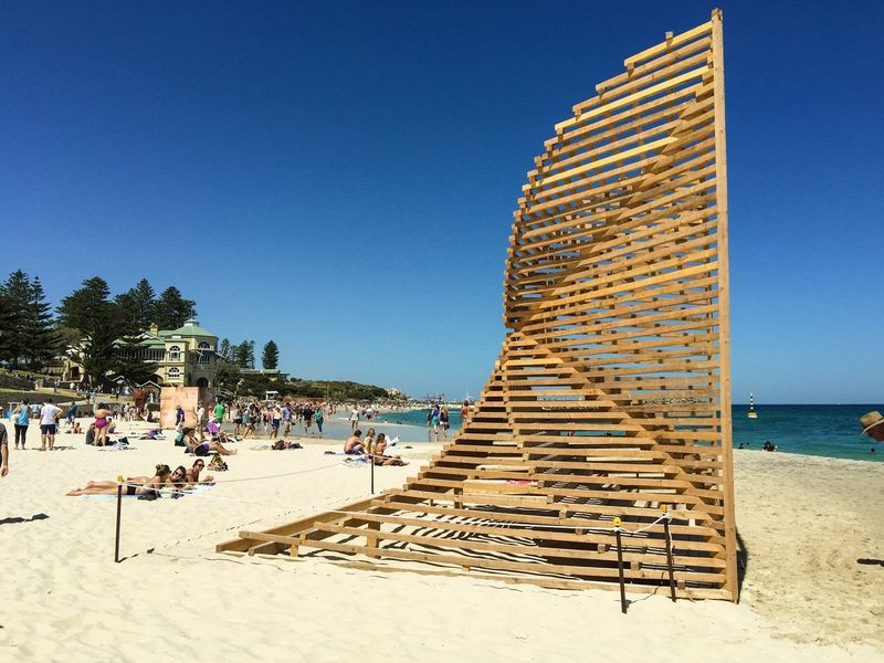 Wooden Sculpture: Cottesloe Beach Wooden Wooden Sculpture Arts And Entertainment March 12,2016 Cottesloe Beach Western Australia Sculptures Arts Festivals ArtWork Sculptures By The Sea Indian Ocean Tourists Leisure Activity Travel Destinations Tourist Attraction  Sea Beach Sand Arts Culture Indiana Tea House People Families Interactive  Wood